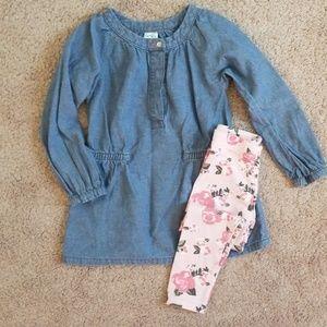 Chambray Shirt w/ rose leggings